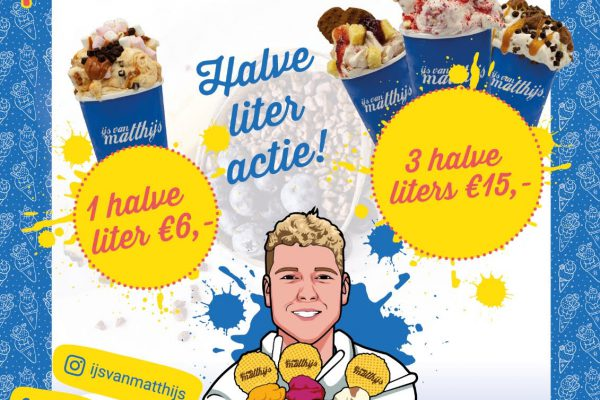 Super takeaway offer: Ice cream from Matthijs, 3 half liters for € 15!
