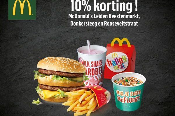Korting in Leiden McDonald's Beestenmarkt & Donkersteeg: 10% discount